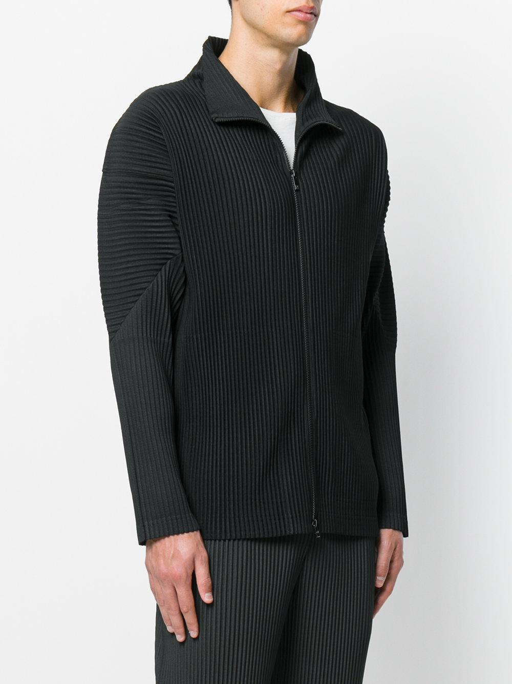 Homme Plissé Issey Miyake Synthetic Rib Knit Zipped Jacket in Black for Men
