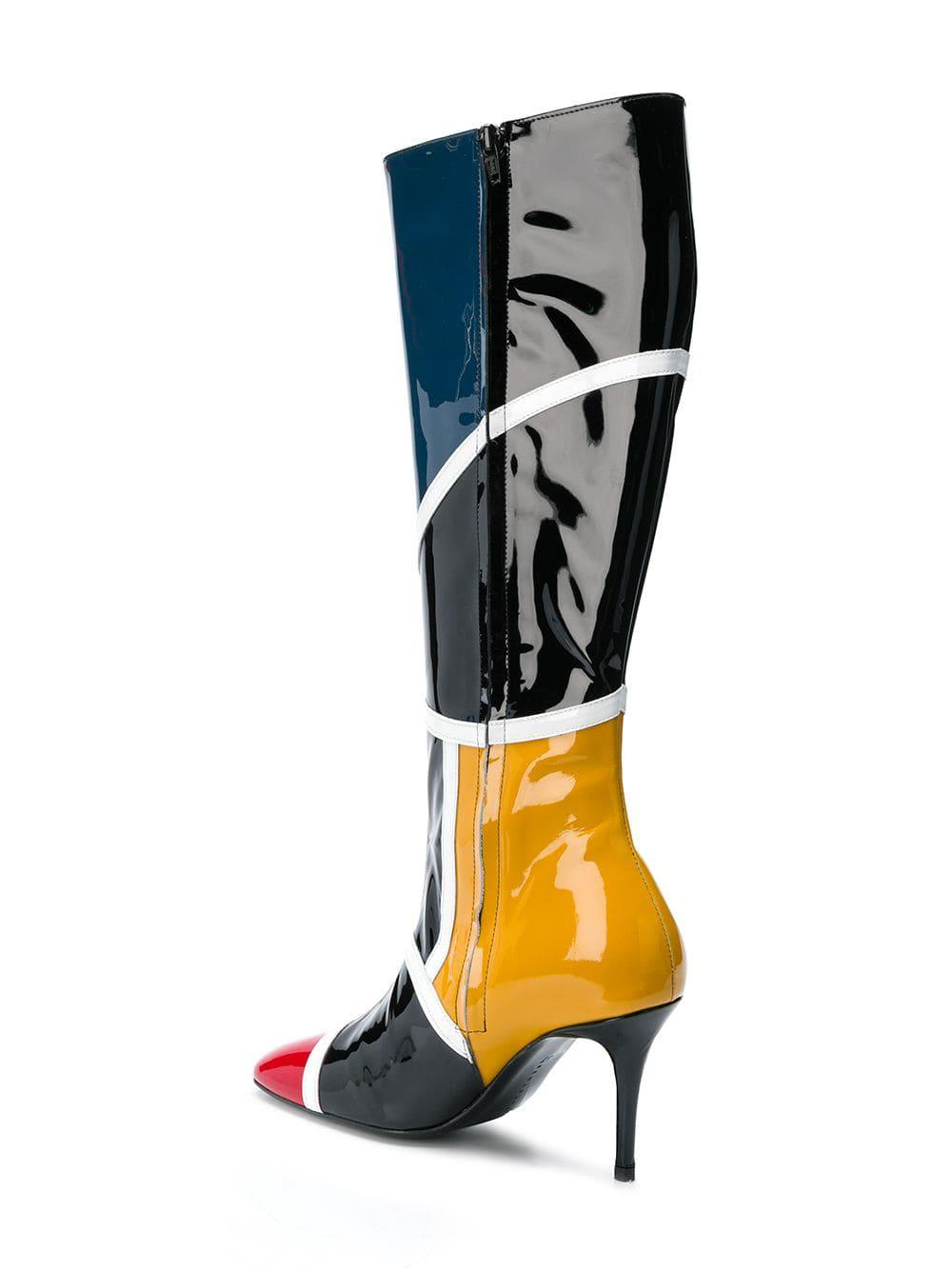 Dorateymur Leather Colour Block Knee High Boots in Black