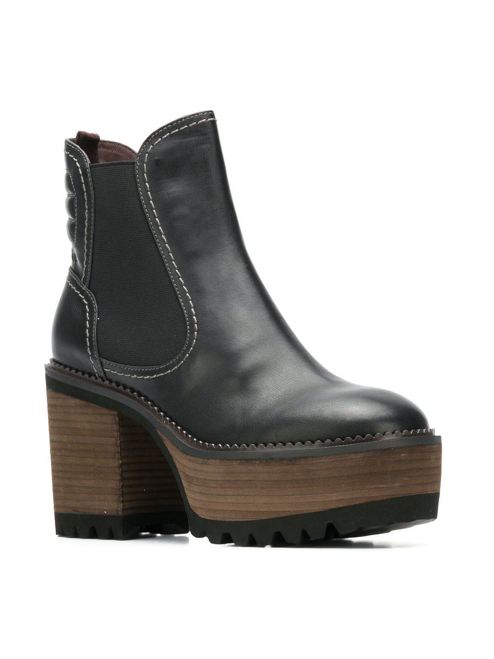 See By Chloé Erika Leather Ankle Boots in Black