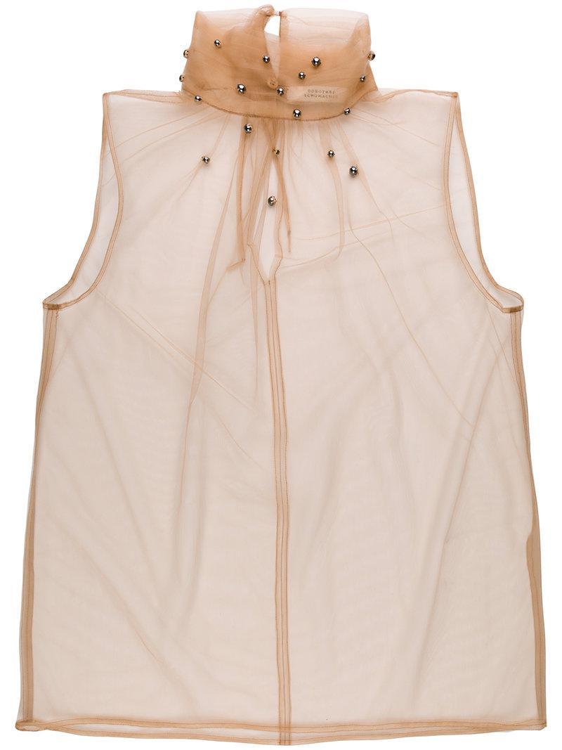 d7646825d5a80e Lyst - Dorothee Schumacher Sheer Embellished Sleeveless Top