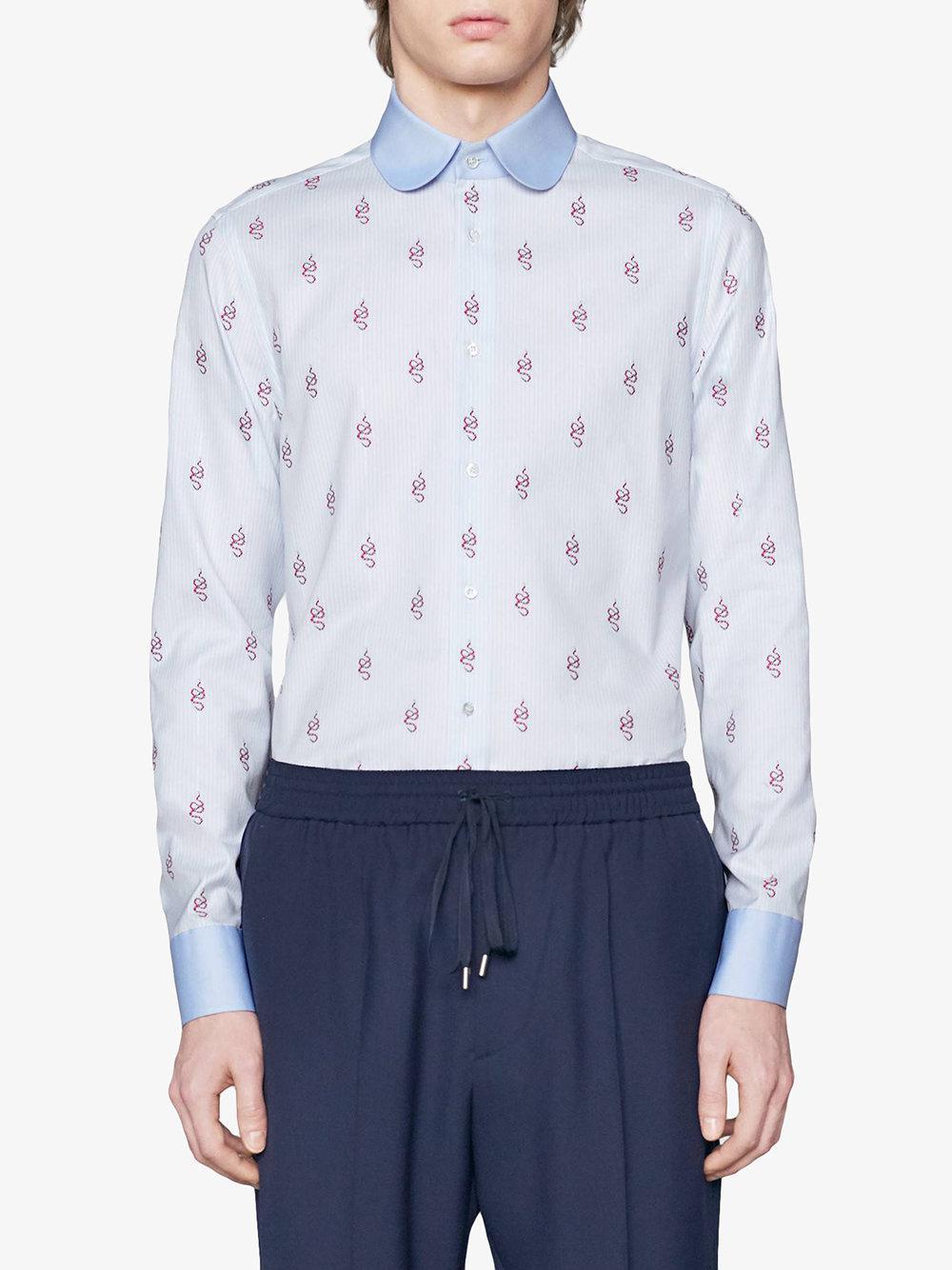 Lyst - Camisa de fil coupé con motivos Kingsnake Gucci de hombre de ... 055228b609d