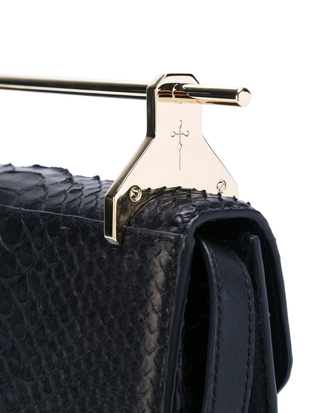 M2malletier Snakeskin Effect Crossbody Bag in Black