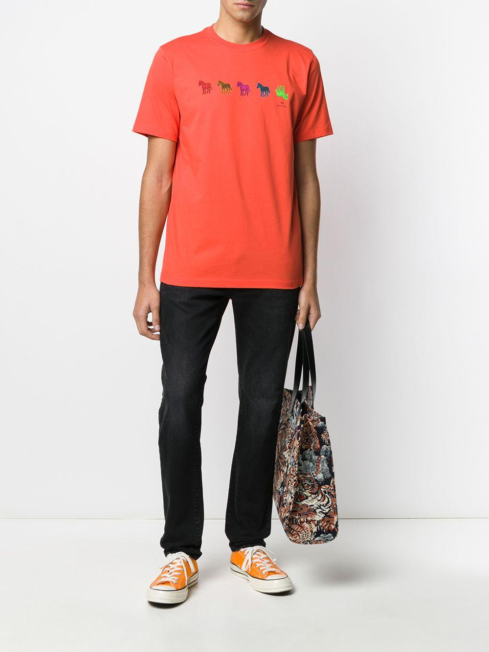 PS by Paul Smith Katoen T-shirt Met Zebraprint in het Oranje voor heren