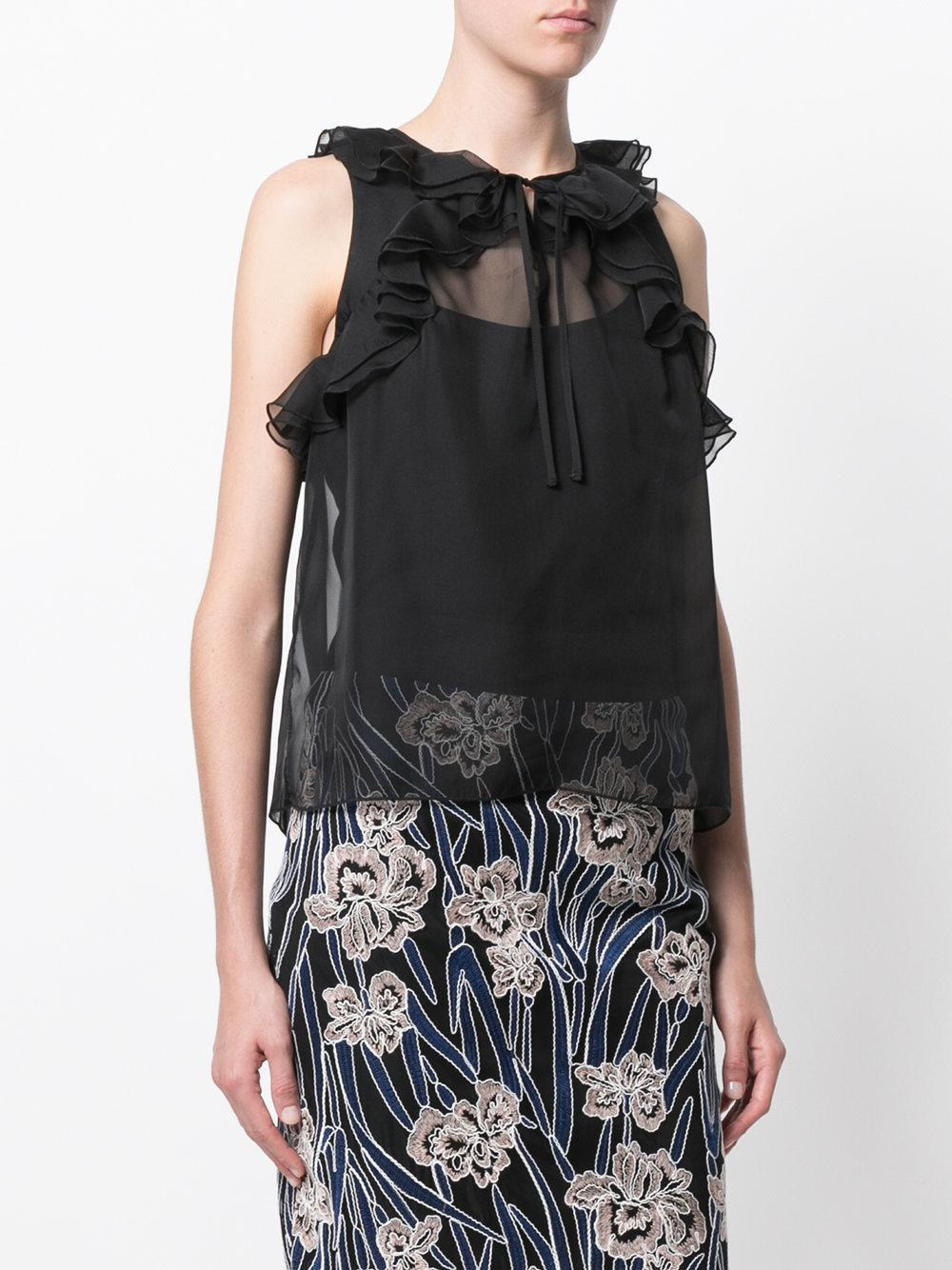 Top Indianna con volantes Three Floor de color Negro