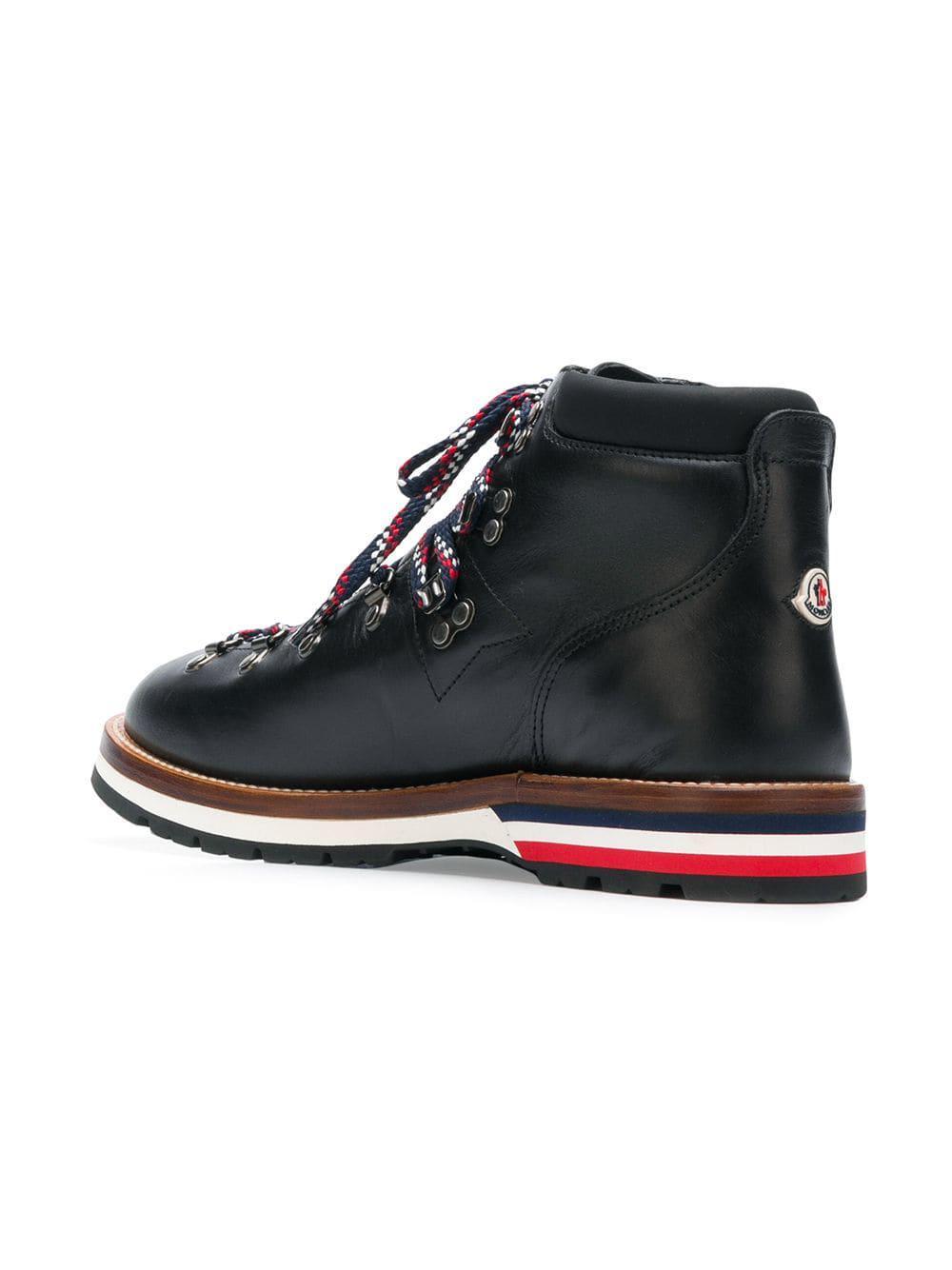 Moncler Leer Peak Boots in het Zwart voor heren