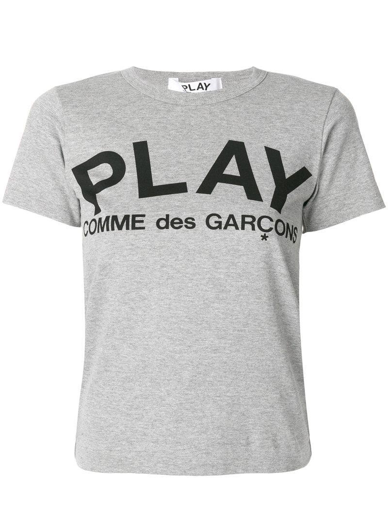 Play Comme Des Garçons Logo Print T-shirt in Gray - Save 4% - Lyst
