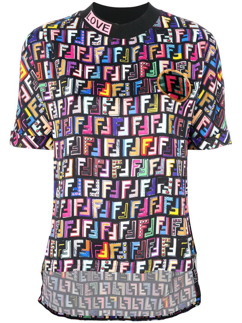 Lyst Fendi Ff Logo Printed T Shirt