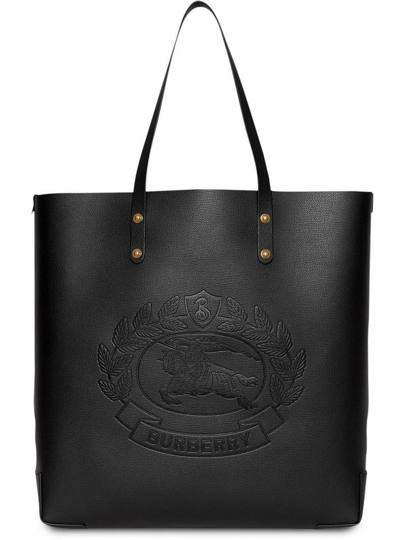 Lyst - Burberry Embossed Crest Leather Tote in Black - Save 19% e51e3aa4485f1
