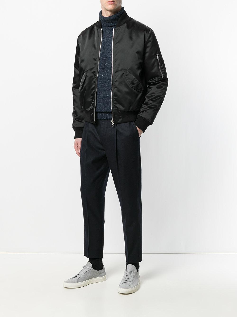Harmony Synthetic Bomber Jacket in Black for Men