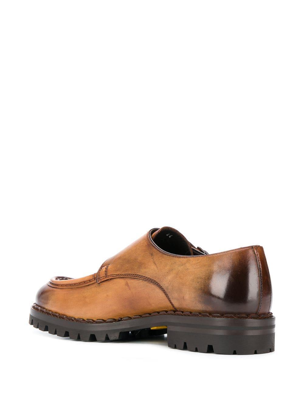 Chaussures à double boucle bicolores Cuir Eleventy pour homme en coloris Marron