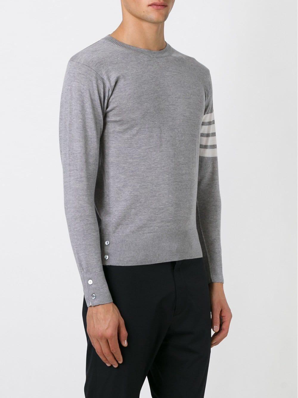 Thom Browne Wol Crewneck Pullover With 4-bar Stripe In Light Grey Merino in het Grijs voor heren