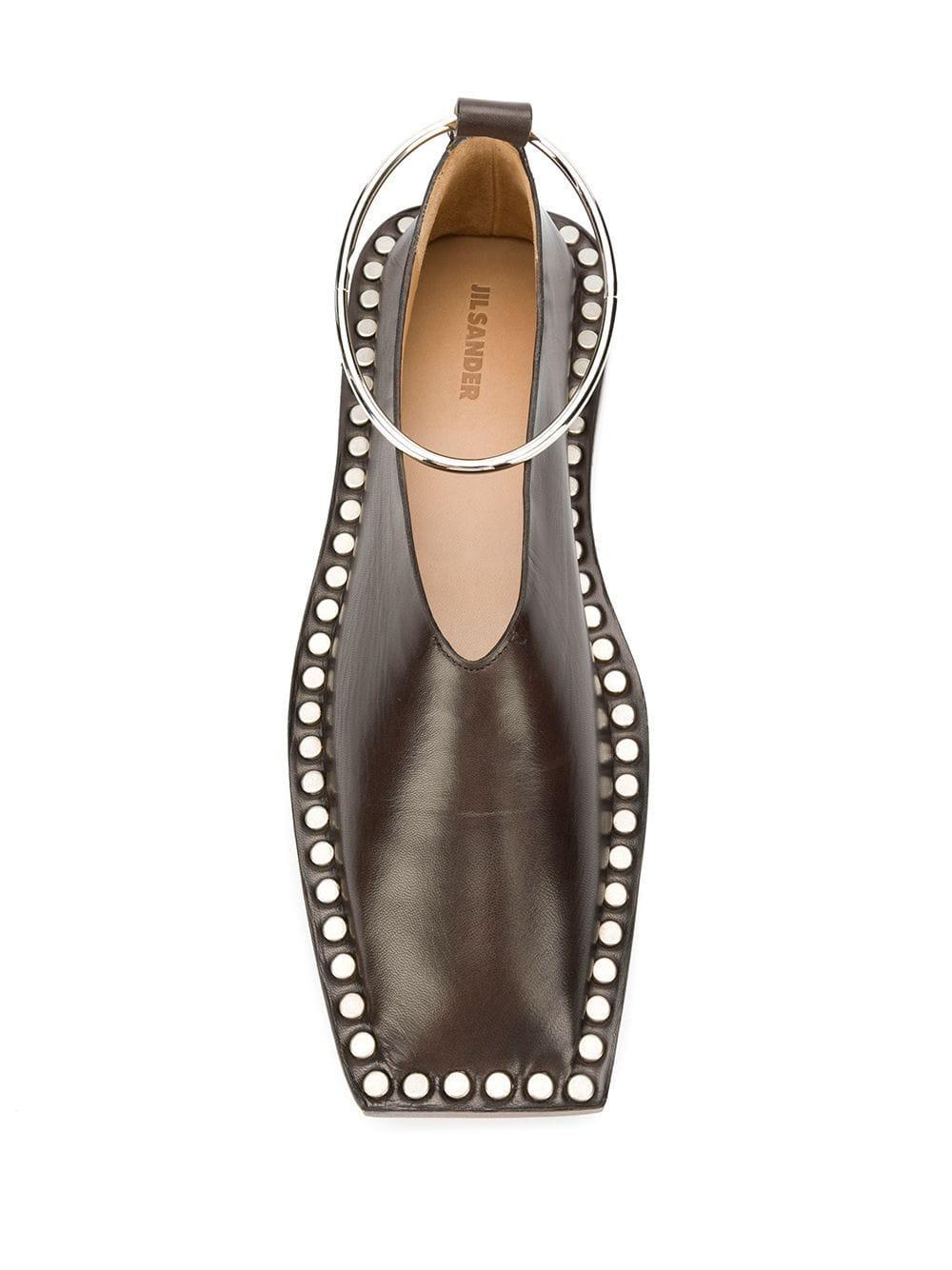 Zapatos de tacón con correa de metal Jil Sander de Cuero de color Marrón
