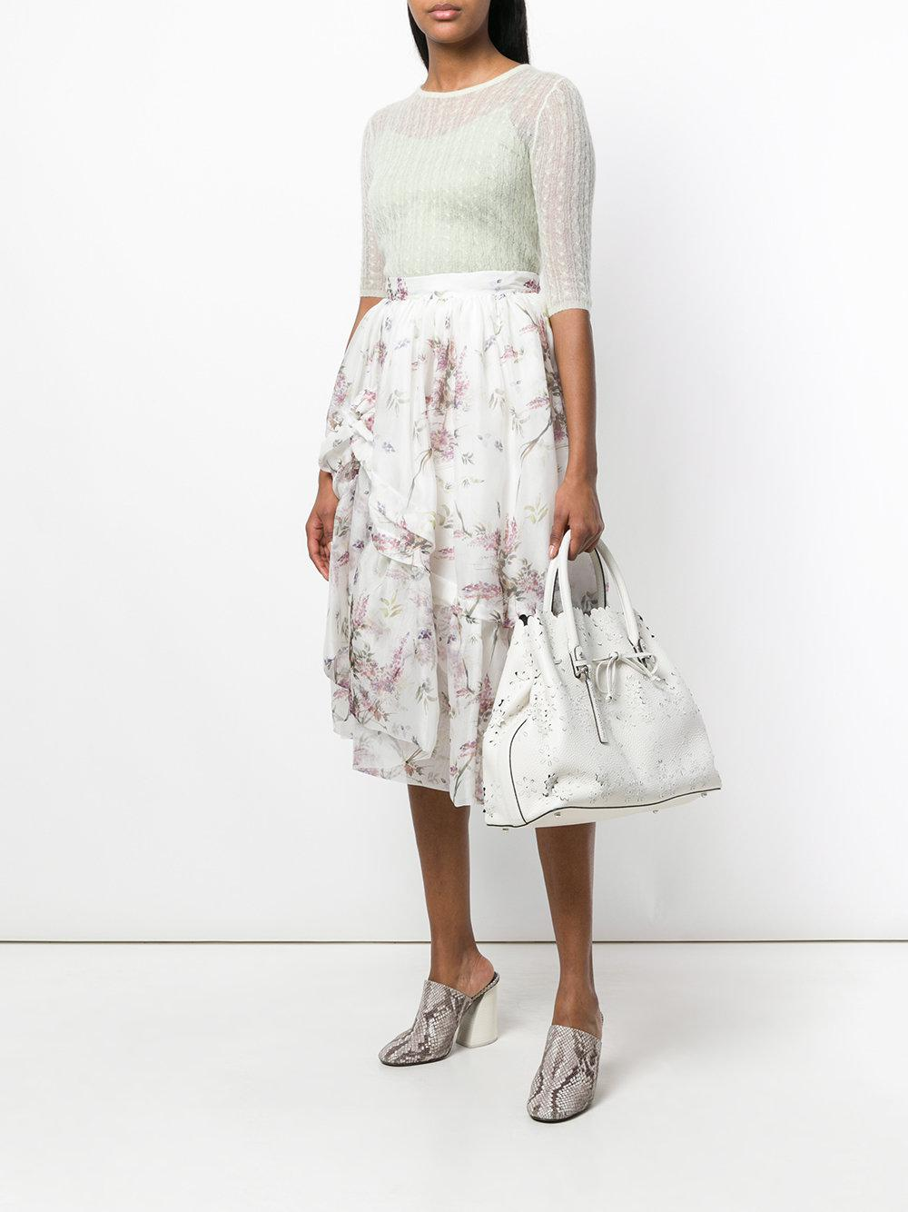 Ermanno Scervino Leather Floral Laser-cut Tote in White