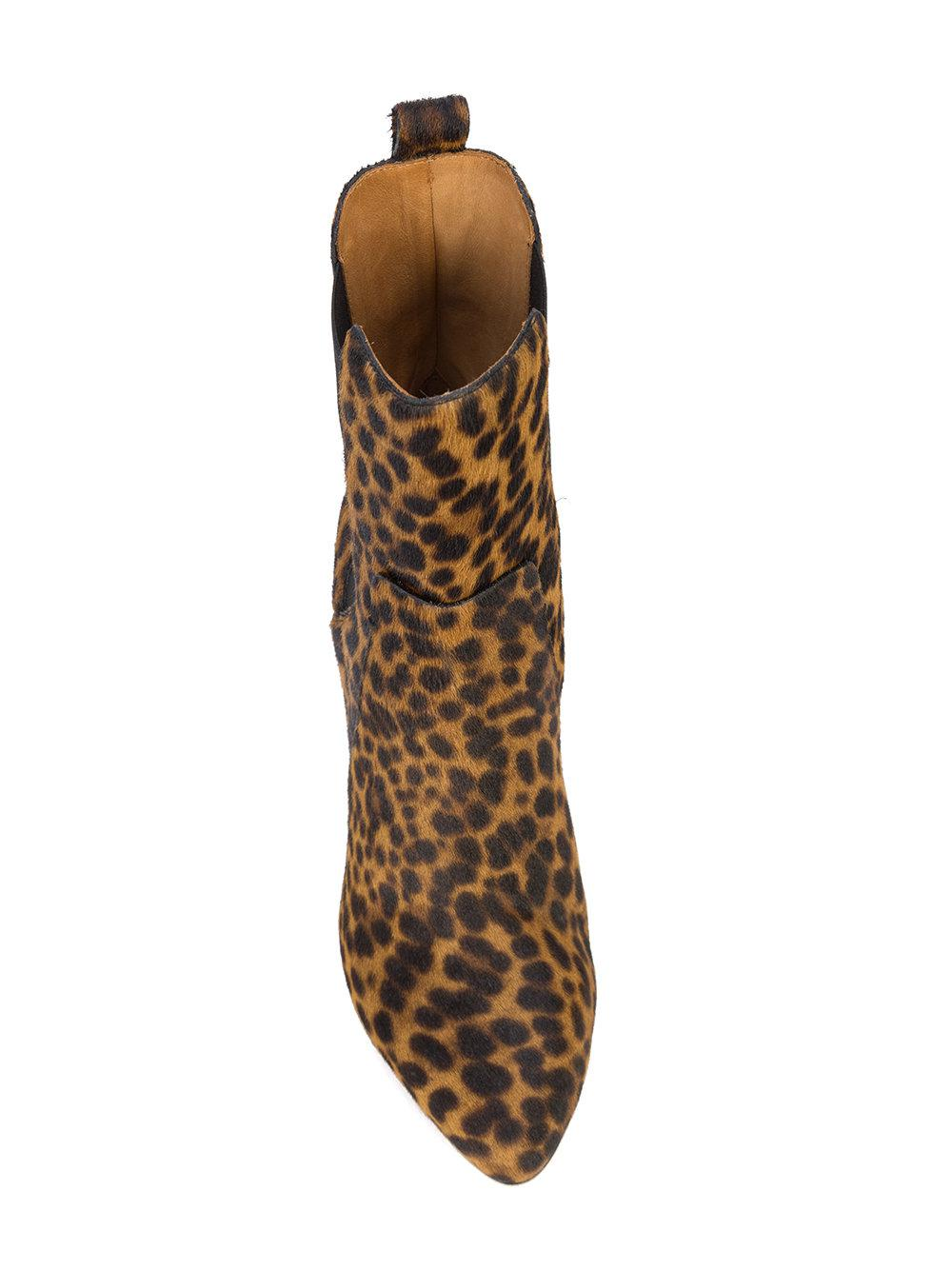Veronica Beard Leather Leopard Print Ankle Boots in Brown