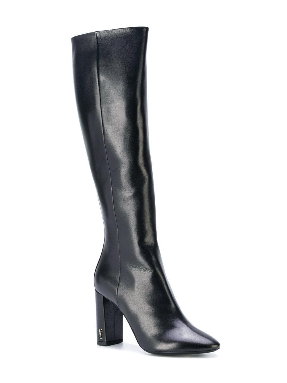 a5773ec23ca Saint Laurent - Black Heeled Knee Boots - Lyst. View fullscreen