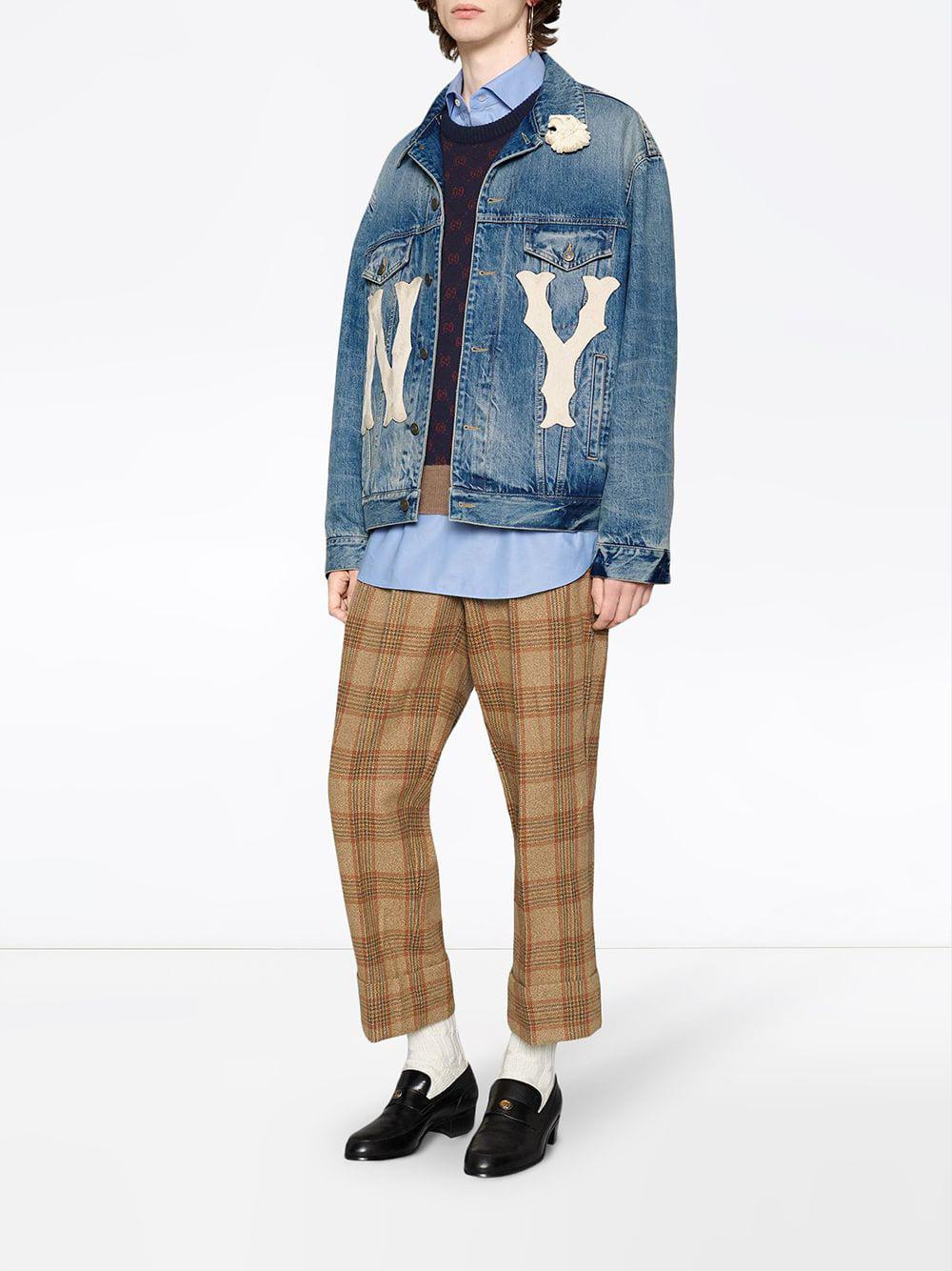 781ba6449c5 Lyst - Gucci Denim Jacket With Ny Yankeestm Patch in Blue for Men