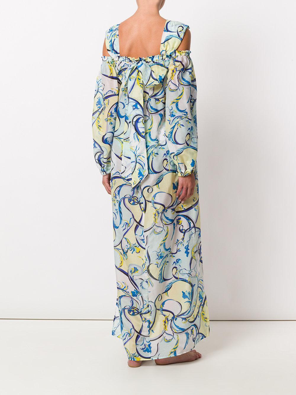 Emilio Pucci cold-shoulder printed maxi dress Discount Prices 2RndUrF