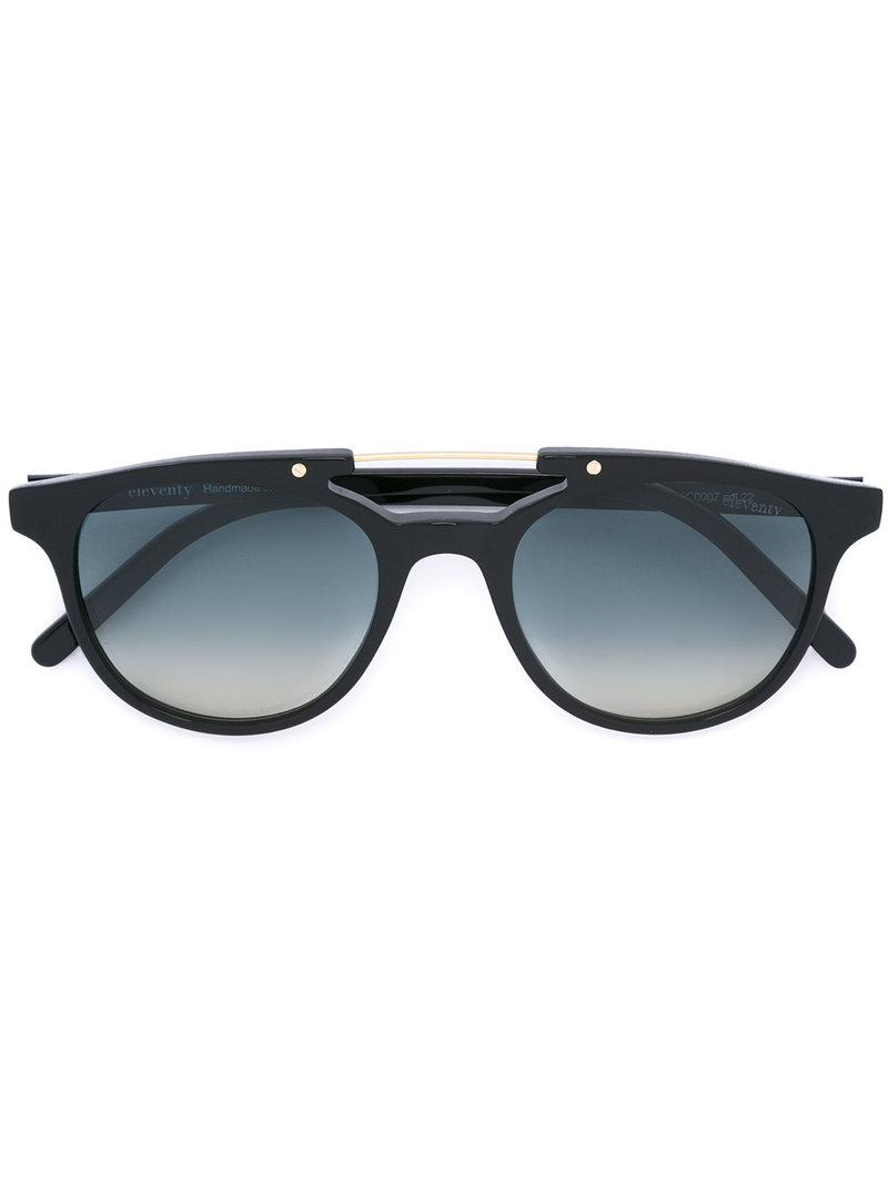 7d73aece96 Eleventy - Black - Round Frame Sunglasses - Men - Acetate glass - One Size.  View fullscreen