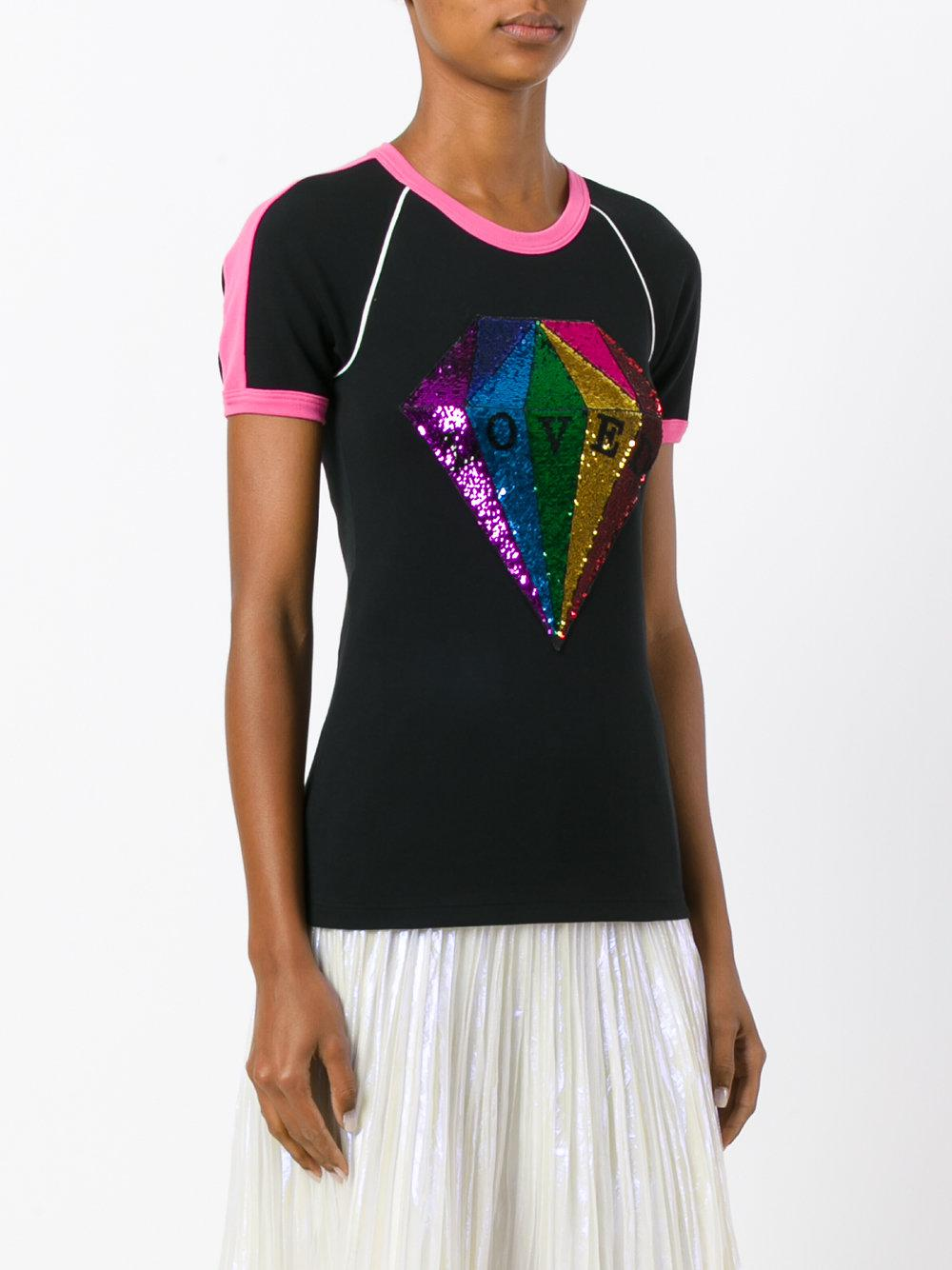 567f85a72489 Gucci Loved Sequin Diamond T-shirt in Black - Lyst