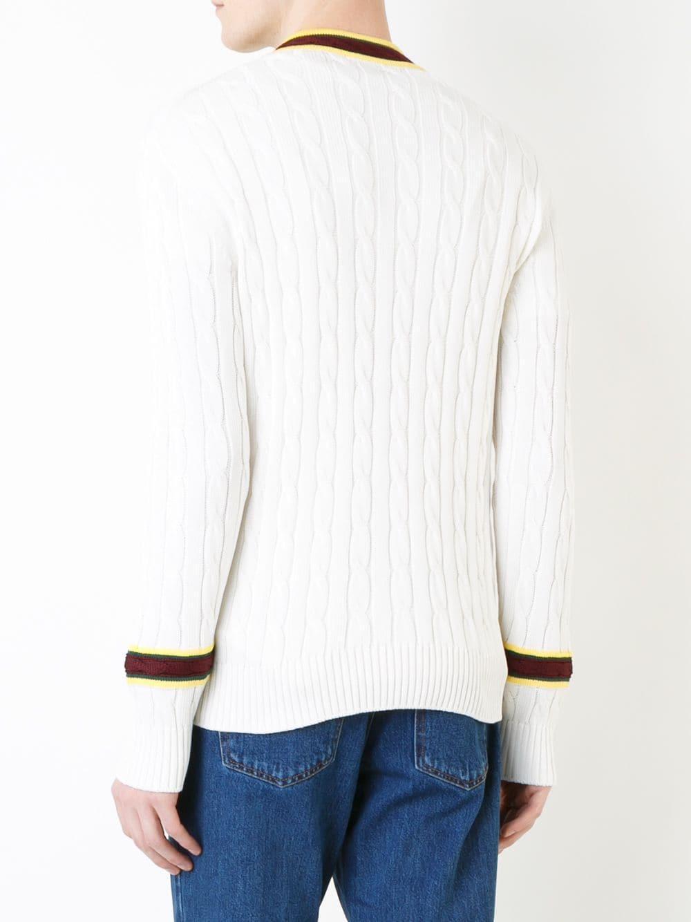 Kent & Curwen Cotton V-neck Cable-knit Jumper in White for Men
