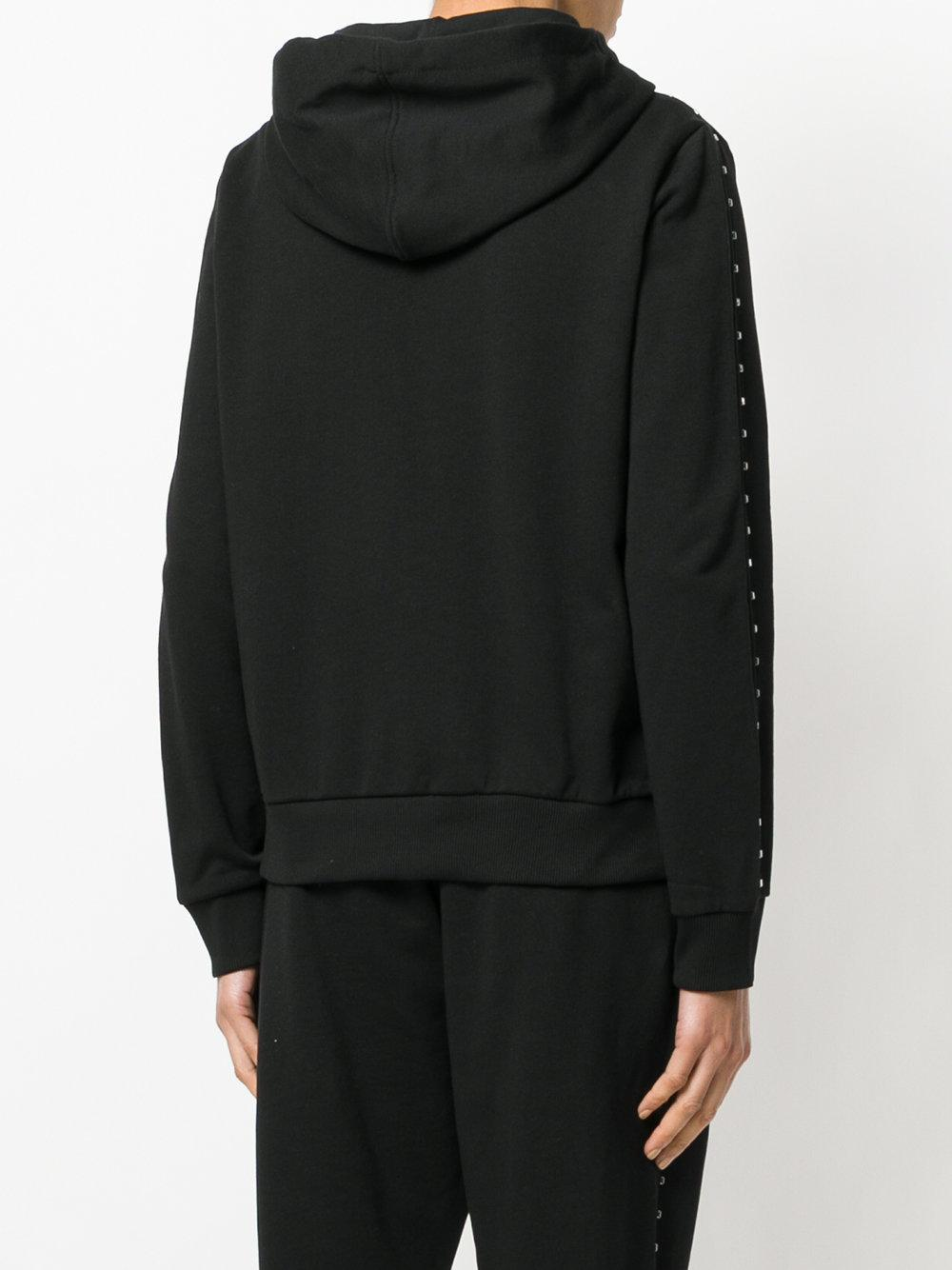 Versace Jeans Couture Cotton Studded Hooded Sweatshirt in Black