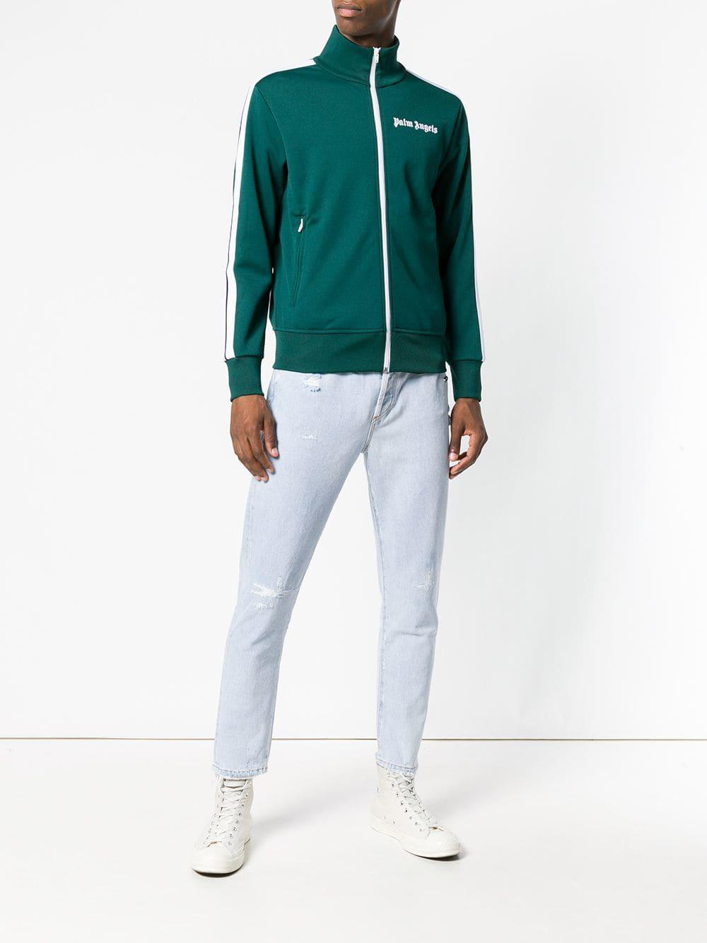 Palm Angels Classic Zip Track Jacket in Dark Green (Green) for Men