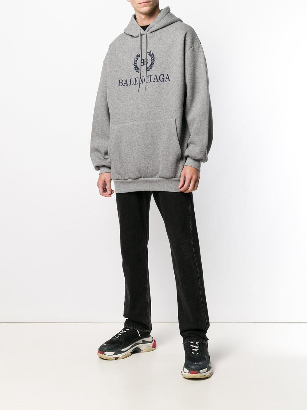 Balenciaga Fleece Hoodie Met Logoprint in het Grijs voor heren