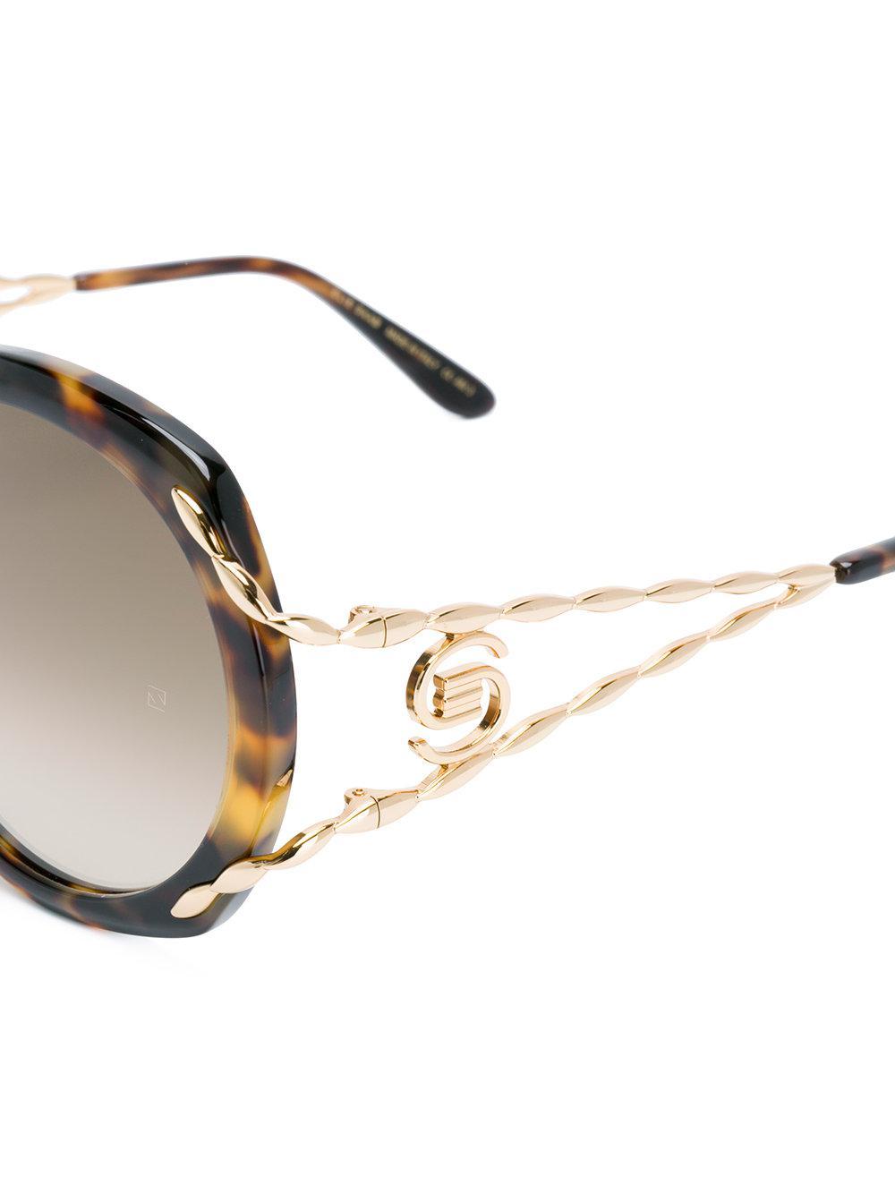 Elie Saab Tortoiseshell Oversized Logo Sunglasses in Brown