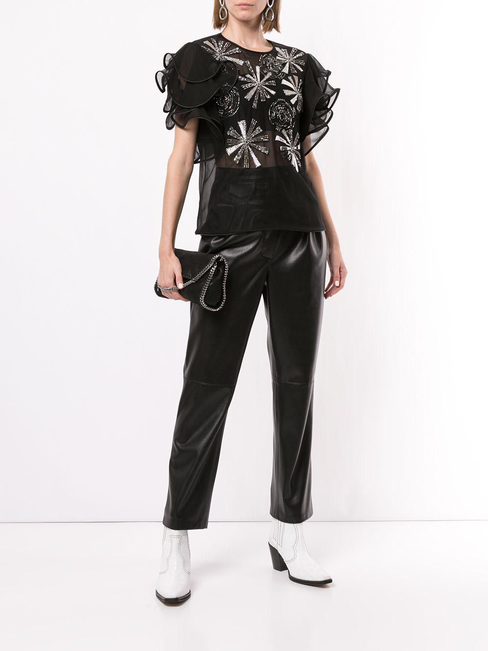 Blusa bordada con mangas con volante Alberta Ferretti de Chifón de color Negro