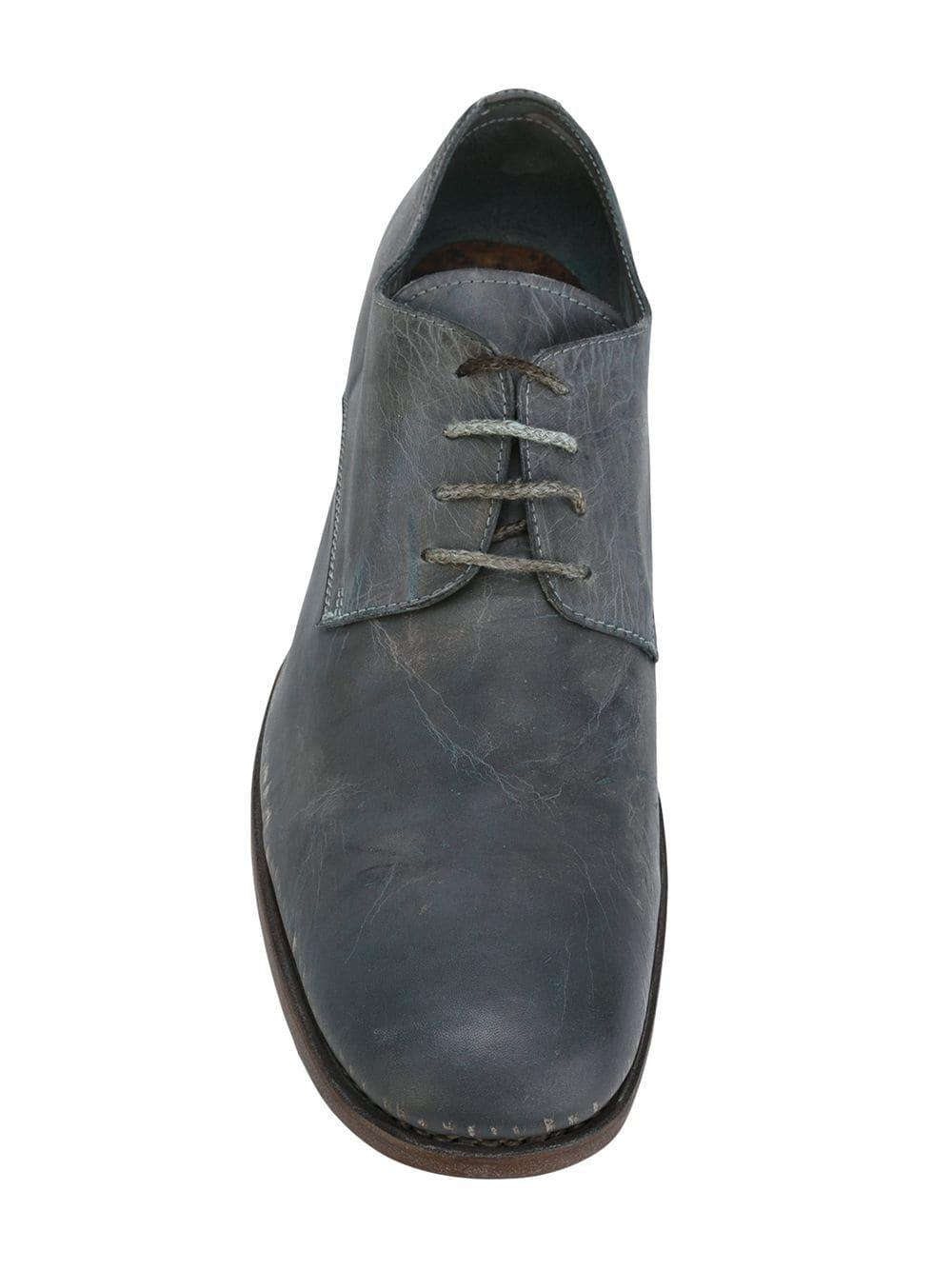 A Diciannoveventitre Leather Distressed Derby Shoes in Grey (Grey) for Men