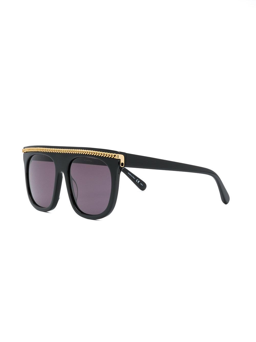 Stella McCartney Falabella Chain Flat Top Sunglasses in Black