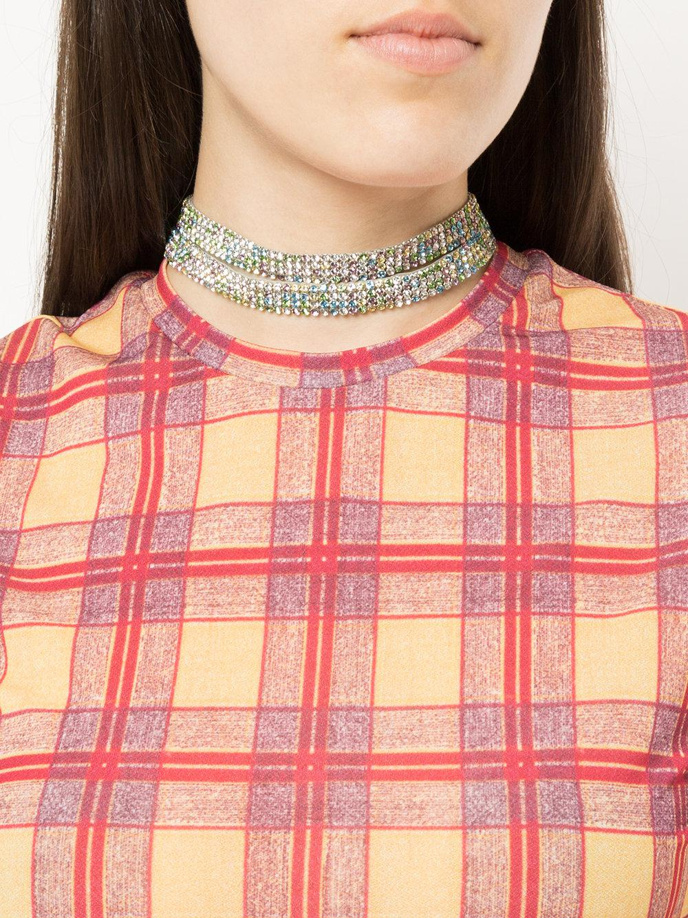 We11done embellished double strap choker - Metallic 9tH5N8Nw