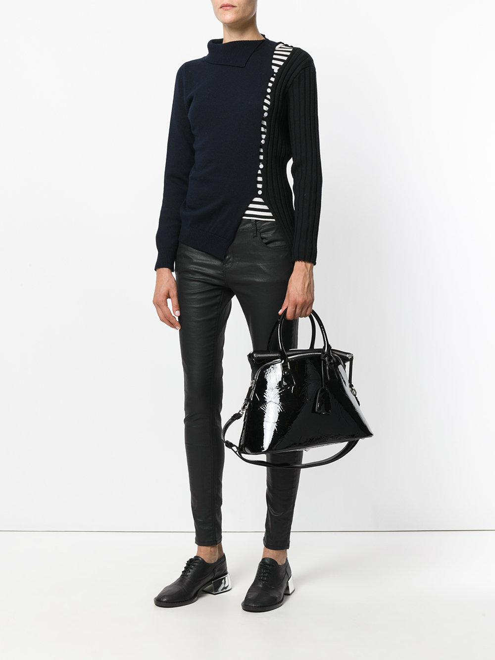 Maison Margiela Leather Small 5ac Tote in Black