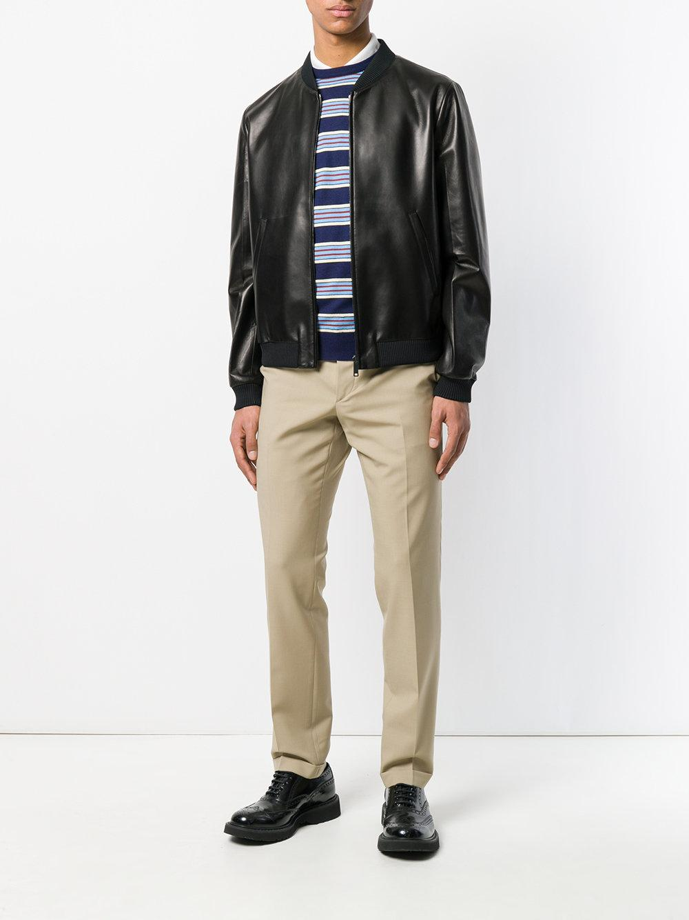 Prada Wool Straight Cuffed Tailored Trousers in Brown for Men