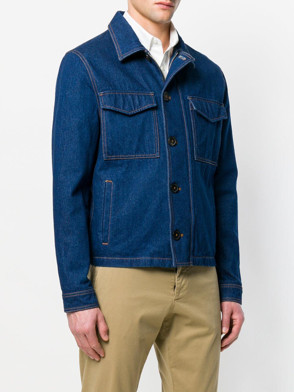 AMI Zipped Denim Jacket in het Blauw voor heren