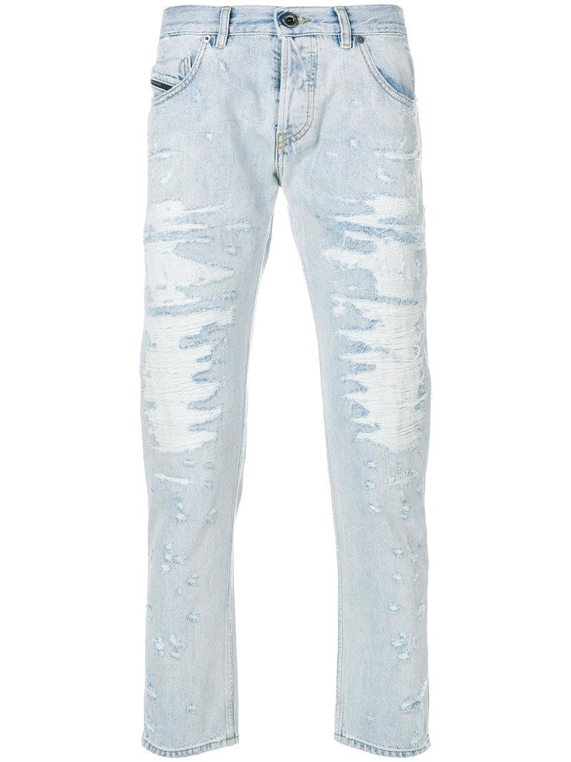 e36d0cf76d Lyst - Diesel Black Gold Distressed Straight Leg Jeans in Blue for Men