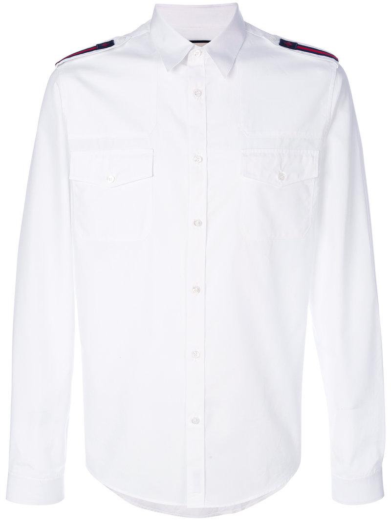 c1f4382ba9d Gucci Duke Shirt With Bee Web in White for Men - Lyst