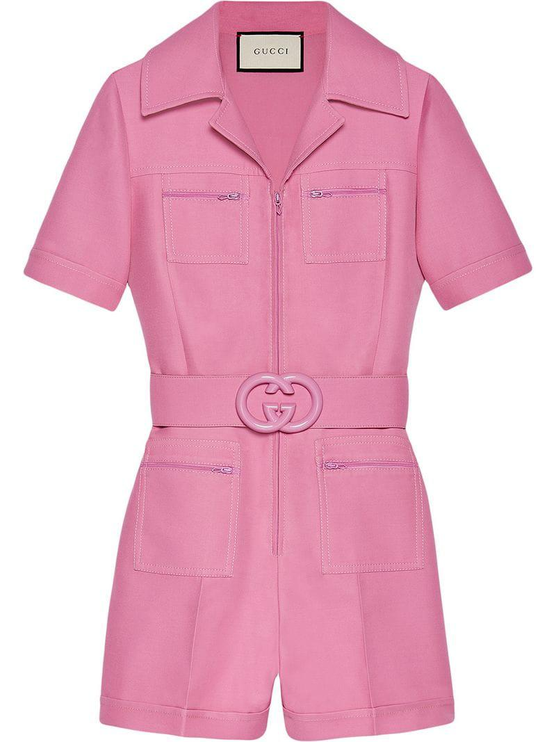 cddeac010f17 Gucci Short Belted Playsuit in Pink - Lyst