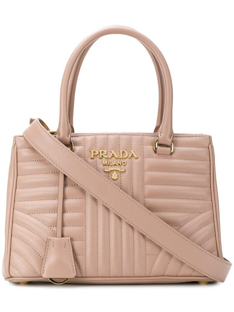 caa2a8b05 Lyst - Prada Quilted Logo Tote Bag in Pink - Save 10.047619047619051%