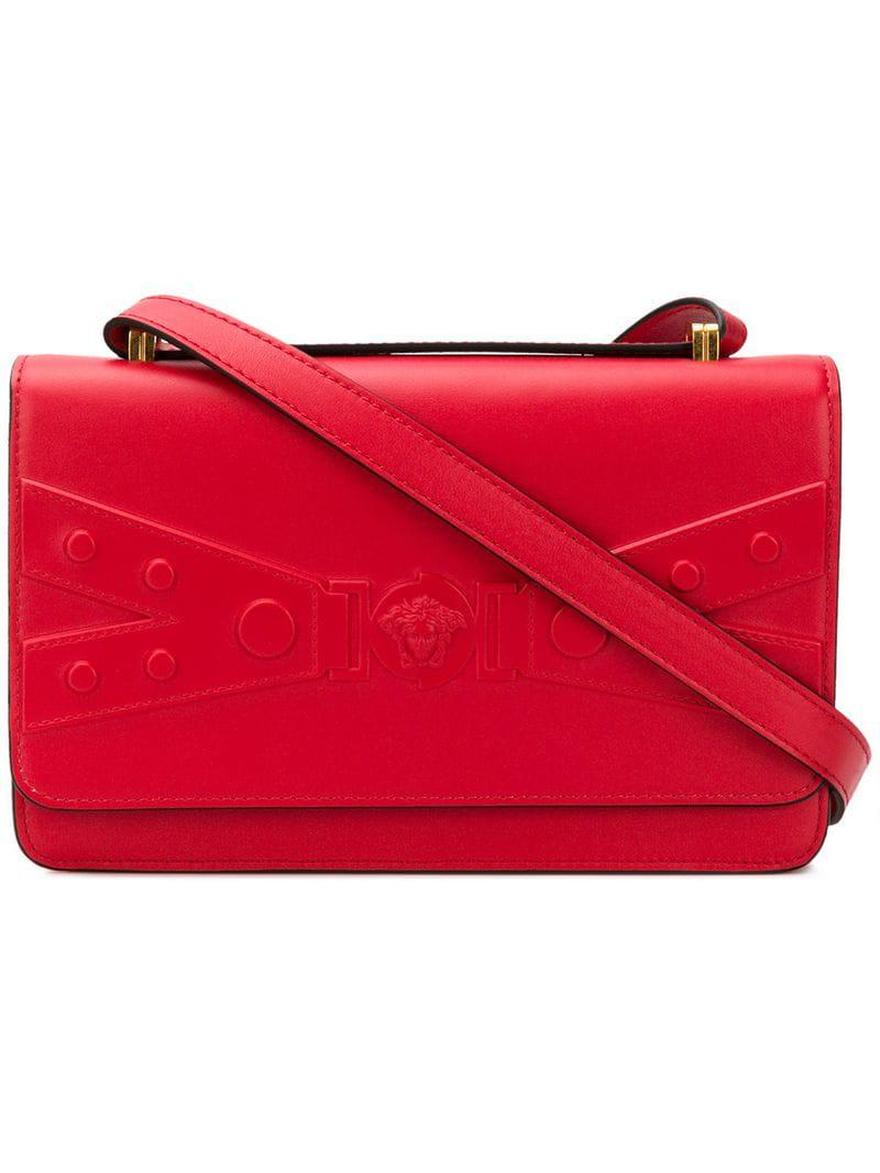 7c4a0235ccb5 Versace Logo Shoulder Bag in Red - Lyst