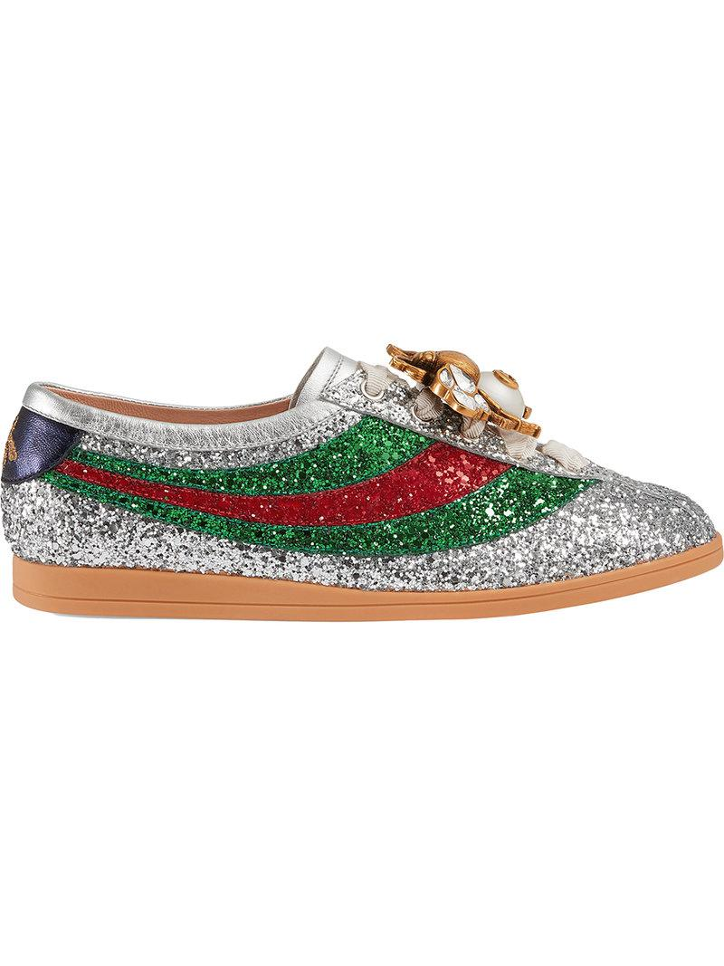 cf54dc6fe Gucci Falacer Glitter Sneakers in Gray - Lyst