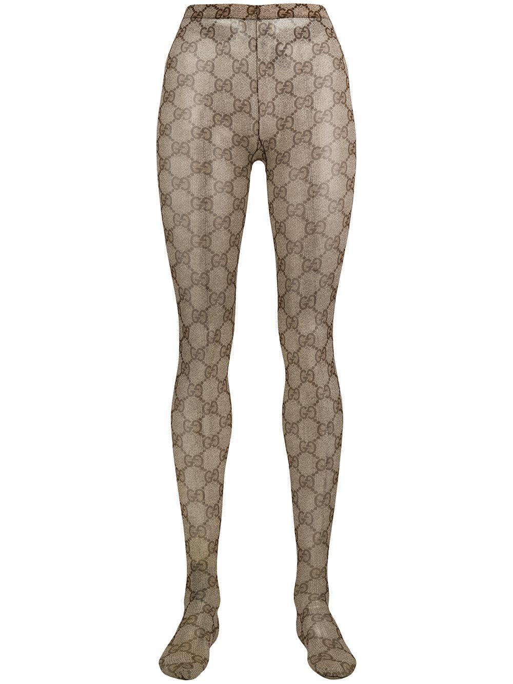 fec346d43b7 Lyst - Gucci Gg Supreme Tights in Brown
