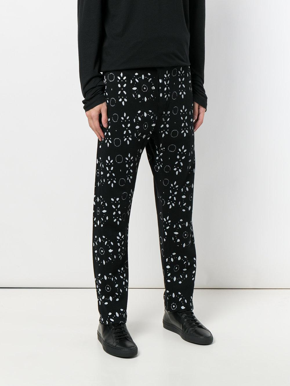 Ann Demeulemeester Cotton Mixed Print Relaxed Trousers in Black for Men