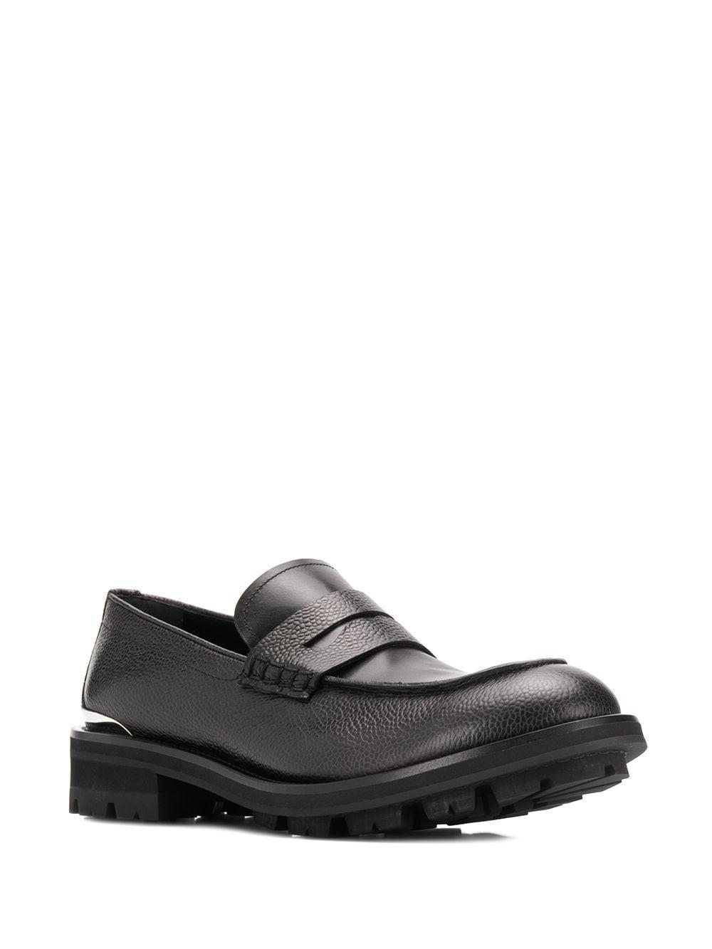 Mocasines granulados con apliques de metal Alexander McQueen de Cuero de color Negro para hombre