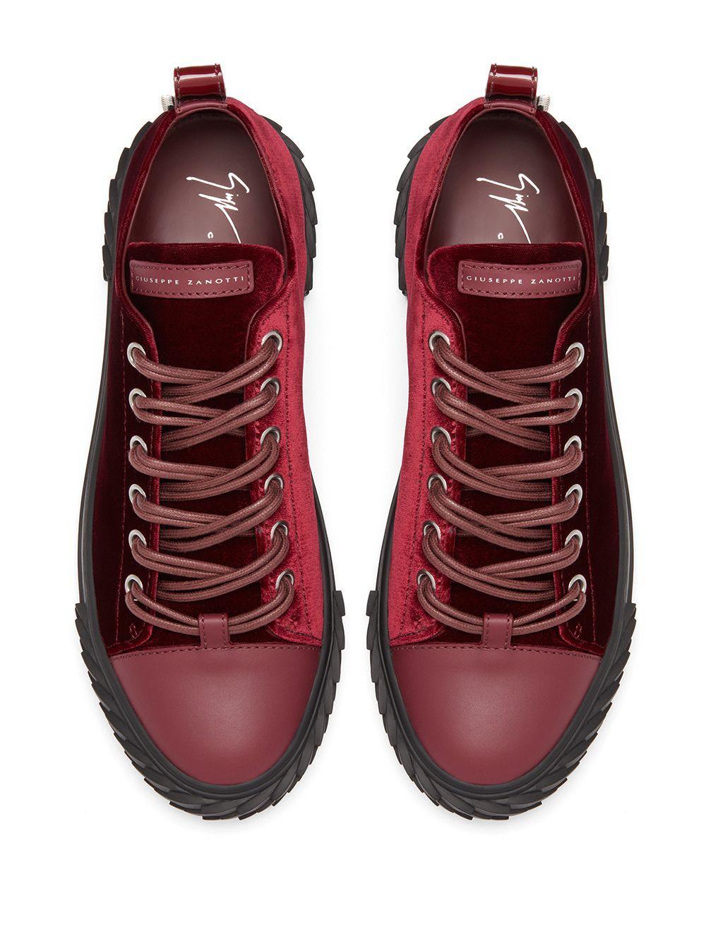 Giuseppe Zanotti Leer Sneakers Met Rits in het Rood voor heren
