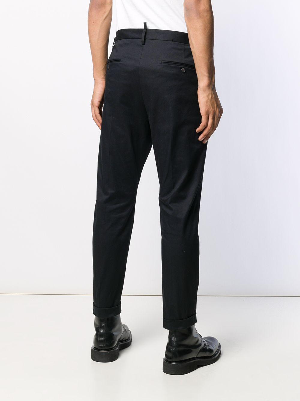 DSquared² Katoen Pantalon Met Contrasterende Taille in het Zwart voor heren