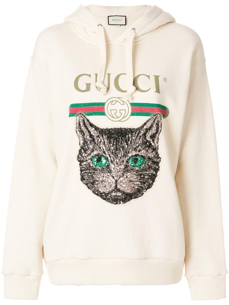 fdef84a6a36 Lyst - Gucci Mystic Cat Logo Hoodie in Natural