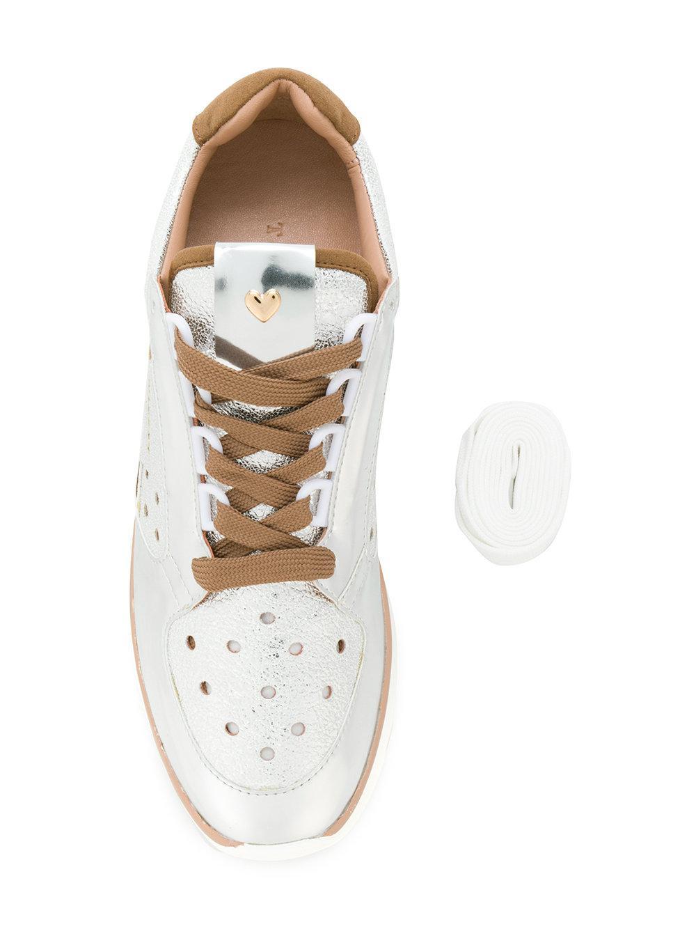 Twin Set Leather Platform Sneakers in Metallic