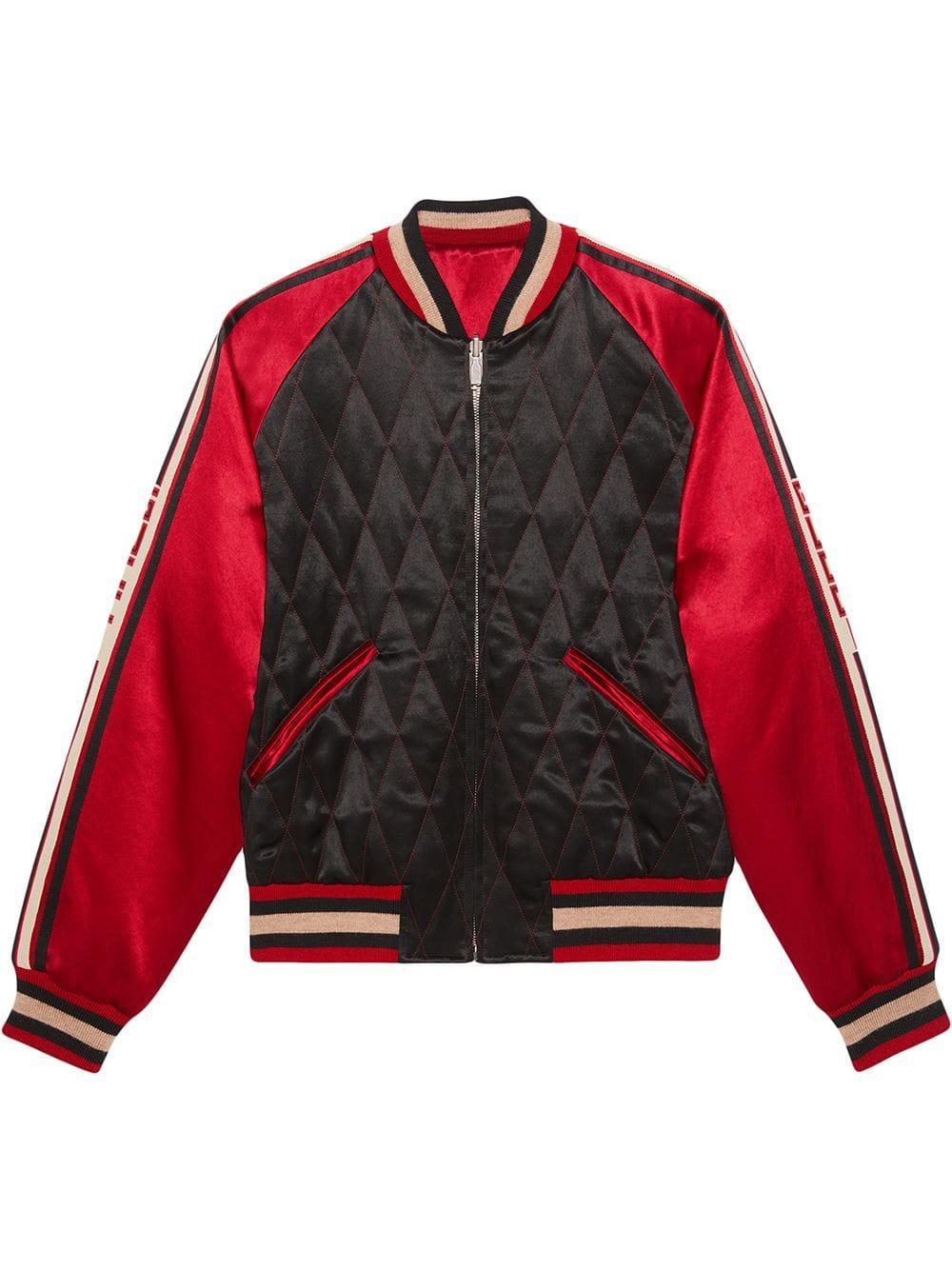 Veste Bomber à Design Réversible Gucci Pour Homme En Coloris Rouge Lyst