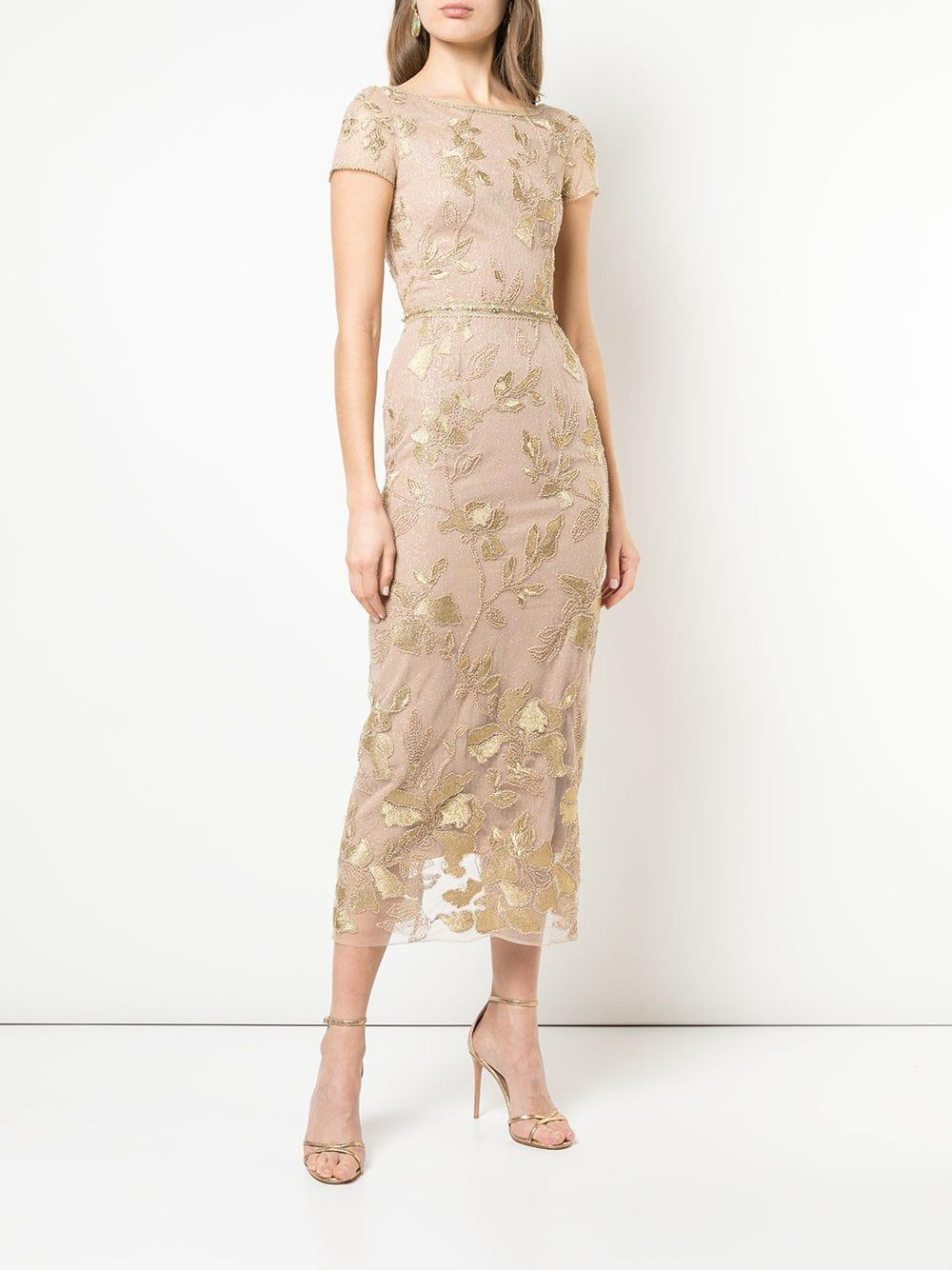 99efa5d8 Marchesa notte Floral Embroidered Evening Dress in Metallic - Lyst
